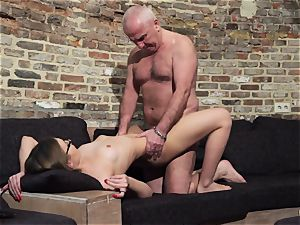 granddad gets salami bj'ed and wet killer little gal
