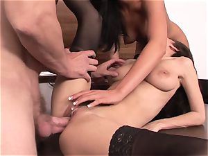 2 secretaries have fun with boss's cock at the office