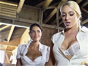 mischievous lezzies Ava Dalush and Victoria Summer ravage the steady man