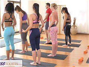 FitnessRooms gang yoga session finishes with a creampie