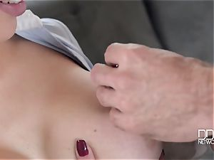 Drunken dude and his hottest acquaintance poke his huge-boobed dirty whore-wife Chessie Kay