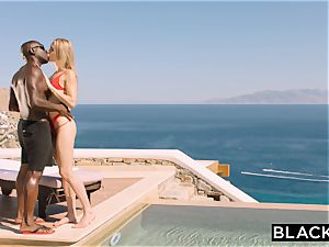 BLACKED platinum-blonde tourist poked in the backside by ebony local