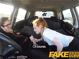 fake Driving college ultra-cute red-haired Ella Hughes pummels