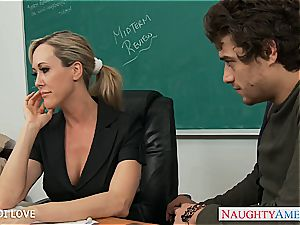 platinum-blonde instructor Brandi enjoy railing pink cigar in classroom