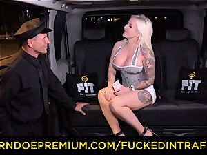 plowed IN TRAFFIC - spunky blondes car triangle plumbing