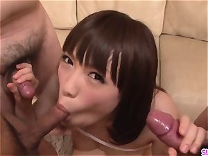 Yuri Sato gives head in filthy modes on home camera