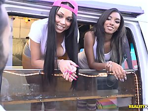 Raven Wylde and Bethany Benz facial in ice fluid truck get fuckbox nailed