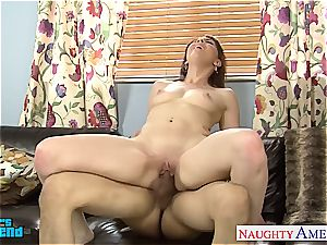 kinky Nickey Huntsman tongued out before blowing and penetrating