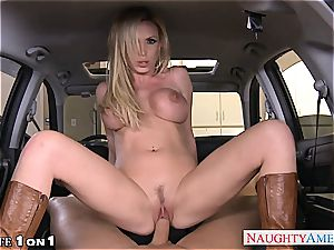 huge-boobed housewife Nikki Benz take man meat in pov