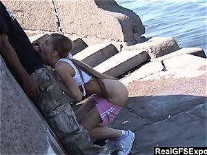 Russian towheaded Olga meets bbc while jogging