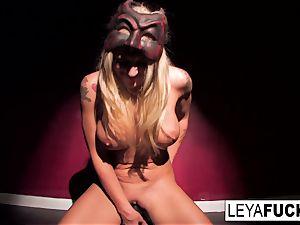 Leya takes on a enormous black fucktoy
