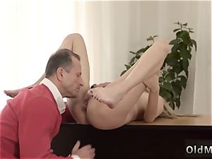 older penetrate lady and fellow young woman Stranger in a phat house knows how to