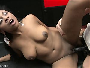 raunchy Kathia Nobili pushes her cable on fuckpole deep down her fucking partner facehole