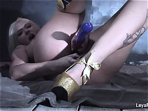 Leya Falcon rams sex playthings in both her fuck holes