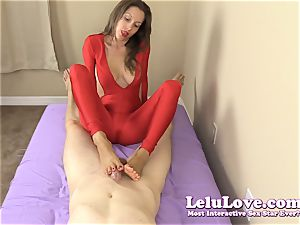 clothed female gives you handjob and footjob