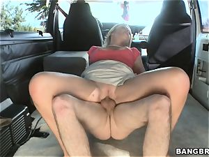Mature platinum-blonde screwing on the BangBus