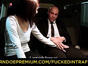fucked IN TRAFFIC - taxi car fuckfest with Czech dark haired