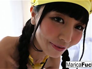 Marica dresses up and fingers her twat