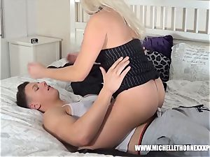 huge-boobed platinum-blonde has humid cootchie licked throating immense manhood
