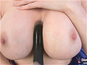 huge-chested Michelle B faux-cock pounding