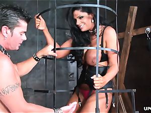 encaged brown-haired bj's fuckpole and receives rock-hard porking