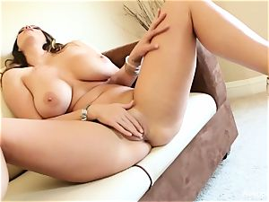 large boobed sweetheart Alison Tyler plays with her honeypot