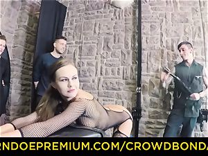 CROWD restrain bondage - extreme domination & submission plow wheel with Tina Kay
