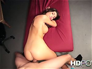 HD pov red-hot brunette with hefty orbs enjoys to juggle weenie