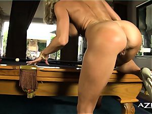 ash-blonde cougar deep throats faux-cock and fills herself up