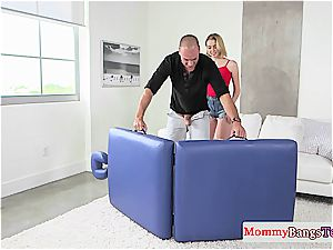 busty stepmom teaching her daughter-in-law