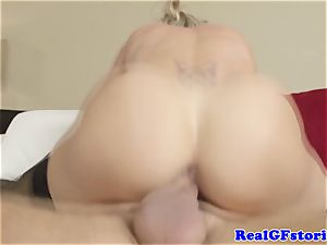 sizzling blond housewife cougar romped