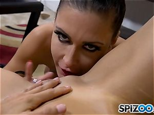 nasty minge licker Jessica Jaymes lets her tongue loose on Shay sights