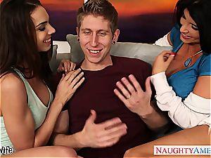 Ravishing Romi and Tiffany happy to share his manhood