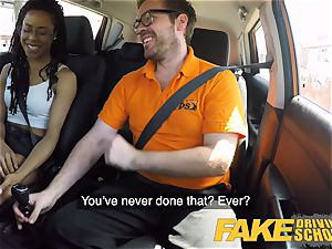 fake Driving school dark-hued yankee minx Kira Noir