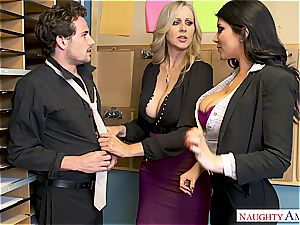 Julia Ann and Romi Rain are looking for someone to toy their enormous bombs