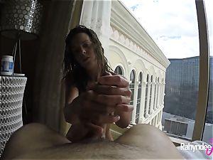 Rahyndee pleasuring pipe in Las Vegas motel point of view