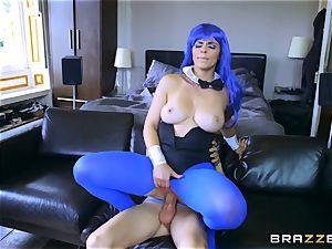 Blue haired Nekane deepthroating on Jordi