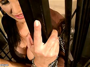 Mandy Bright shackled a warm babe at the jail steel
