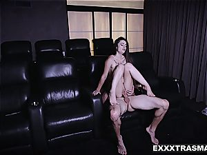 puny stepsis rides bro's big stick in a video theater