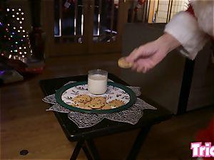 Trickery - naughty Gianna Dior drills step father santa