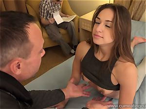 Sara Luvv Cuckolds Her husband and Makes him blow manstick