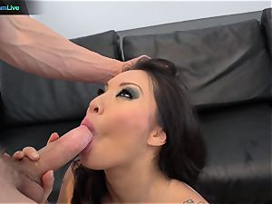 fascinating honey Asa Akira opening up her widely opened slot