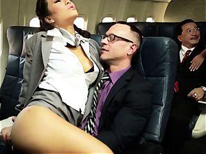 Asa Akira and her hostess buddies fuck on flight