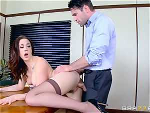 Chanel Preston throating on Charles Deras fat trouser snake